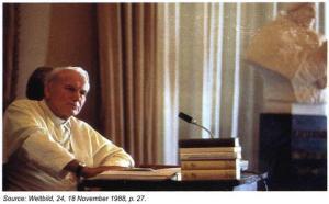 Pope John Paul II at his desk